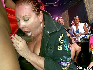 Mature woman gets sperm in mouth for being good at sucking from black stripper at the party