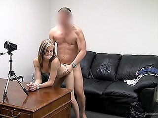Agent's fresh sperm appears on girl's cute face after he drills tight twat at porn casting