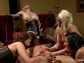 One of the women has birthday and friends throw a party where dominate tied up man
