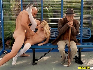 Naughty babe Riley Star seduces stranger into quickie on bus stop right next to old man