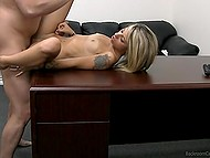 Agent impales good-looking blonde newcomer and in the end cums all over her tummy