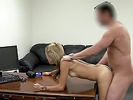 Modest newcomer during audition doesn't mind if agent shoves dick into her asshole