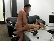 Joyful blonde during audition in agent's cabinet is penetrated by man in several poses