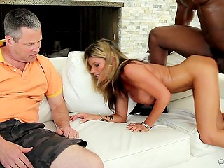 Whorish woman with big tits turns husband into cuckold having sex with black stallion in his presence