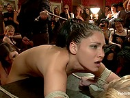 Brunette and blonde babes want to help workers to relax and allow them to tie them up and fool around 9