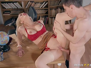 Boy manages to avoid punishment because of sex with busty literature teacher Amber Jayne in classroom