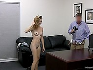 There is a big leather couch in the room but agent takes the decision to fuck girl on the table
