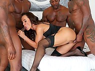 Classy cougar Lisa Ann dragged into fantastic group fuck with five black stallions