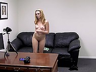 Girl prefers to be creampied in pussy after hard anal penetration at the porn casting 11