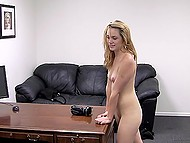 Girl prefers to be creampied in pussy after hard anal penetration at the porn casting 7