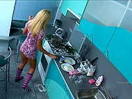 Female entices boy with camera cooking in the kitchen and giving him blowjob in parallel 7