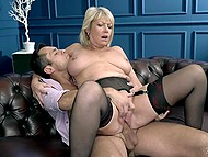 Old blonde in black stockings never turns down an opportunity to be fucked by a handsome young man 10