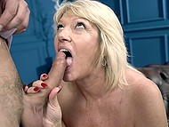 Old blonde in black stockings never turns down an opportunity to be fucked by a handsome young man 6