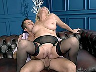 Old blonde in black stockings never turns down an opportunity to be fucked by a handsome young man 7