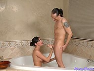 Dark-haired masseuse Kortney Kane thinks man should take a bath and receive a blowjob first of all