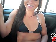 Latina girl in swimsuit gives guy blowjob in the car and his dick penetrates shaved pussy 7