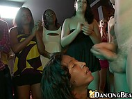 Sultry woman gags on fuckstick of athletic strip dancer to be rewarded with facial 7