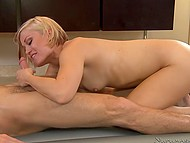 Man penetrates and satisfies blonde masseuse Ash Hollywood during fun on mattress 6