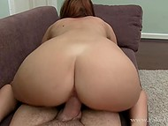 Newcomer rides agent's manhood and passes audition by receiving cum all over face 8