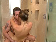 Masseuse can't resist kissing tattooed client and this leads to sex in the shower room 6