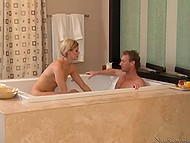 Tricky man cheats on wife with masseuse Ash Hollywood who blows cock in warm bath 8