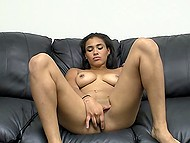 Slutty young woman with pierced nipples starts masturbation that turns into passionate blowjob