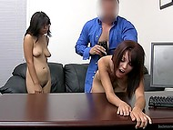 Lucky porn agent feels naked models up and makes them suck and fuck under the pretext of casting