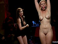 Guy makes simple whore into a star of tonight together with his lesbian assistant fingering slave 5