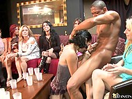 Various Ebony and Latina women not shy to suck every inch of stripper's manhood 9