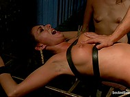 Girl who is tied to cage won't be able to avoid vaginal penetration and squirting orgasm 9