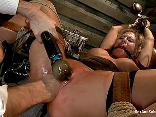 Tied up chesty MILF dominated by creepy master who loves to use black vibrator