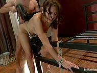 Passionate sex with tied up girl who can't resist and has to cum because of cock in muff 7