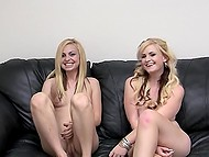 Young man sneaks into the cherries of two blonde females with tiny boobs at the audition 11