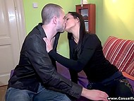 Horny brunette female in black gets dick of bald pickup artist in mouth and pussy 5