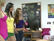Pretty teens give a threesome blowjob to surprised guy who can't move even and just enjoys 5