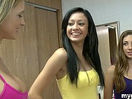 Pretty teens give a threesome blowjob to surprised guy who can't move even and just enjoys 6