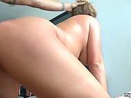Skillful female with sexy natural jugs bonked and facialized by young man in the end 10