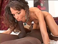 Skillful brunette MILF makes younger black man penetrate her while husband is at work 5