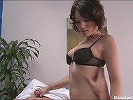 Naughty masseuse with perfect ass strokes man's strong dick and takes it in mouth 7