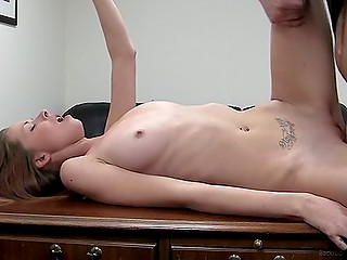 Skinny babe gets naked and gives herself to porn agent so that he can introduce his penis to her slit