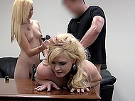 Sexy blondes are made to suck dick of agent who sneaks into their cherries and even rears 10