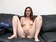 Chick takes off her clothes and fools around fingering cunt in front of agent on the casting