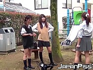 After classes Japanese college girls aren't in a hurry to go home and come to the playground where they piss 10