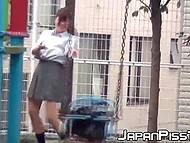 After classes Japanese college girls aren't in a hurry to go home and come to the playground where they piss 11
