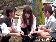 After classes Japanese college girls aren't in a hurry to go home and come to the playground where they piss 5
