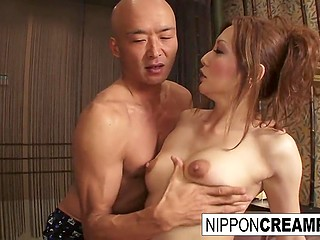 Bald stallion from Japan tries so hard during sex with pretty woman that sweat profusely covers his body