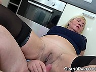 Blonde granny makes love with old husband under control of skinny brunette and her BF 10