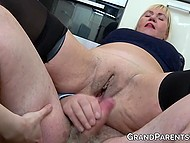 Blonde granny makes love with old husband under control of skinny brunette and her BF 9