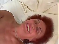 Red-haired granny dragged into nasty threesome with young redhead and her man 4
