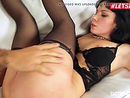 Bald stallion from Italy during audition actively assfucks newcomer Luna Oara on sofa 5